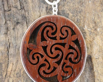 Large Celtic Spiral Rosewood Pendant, Handcarved Celtic Triple Goddess Spiral Necklace, Unique Celtic Jewelry Handmade In Ireland