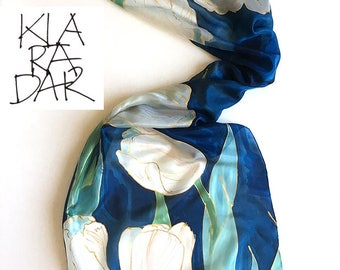 Navy Tulips Silk Scarf/ Hand Painted Scarf/ Dark Blue Floral scarf painted/ Unique handmade gift for women, Christmas gift mom Silk Painting