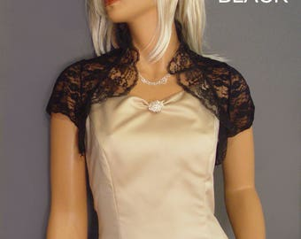 Ruffle Lace bolero jacket wedding shrug bridal short sleeve cover up LBA304 AVAILABLE IN black and 2 other colors small through plus size!