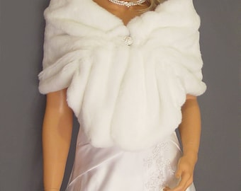 Faux Fur Shrug in Beaver Bridal Faux Fur Stole, wedding Stole, cover up Vintage Wedding Shrug, Fur Wrap SPA107 AVL in White & 4 other colors