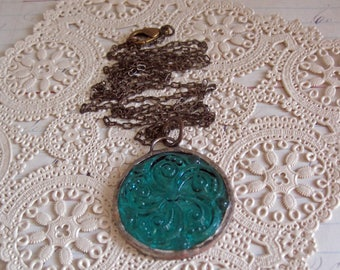 Long Teal Glass Swirl Necklace Stained Glass Jewelry
