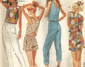 Vintage 80s McCalls 3147 UNCUT Misses Summer Criss Cross Wrap Blouse, Pull on Pants, Shorts Sewing Pattern Size 12 Bust 34