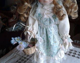 Vintage Porcelain Doll - Storybook Style Porcelain Doll in Pinafore