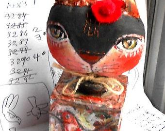 Original folk art doll Cat with birds  on the cube OOAK by miliaart studio