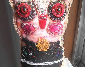 Original art doll ,folk art  Owlie with red eyes   OOAK From miliaart studio