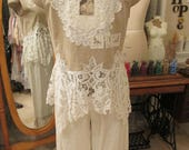 Vintage Kitty.. cropped, upcycled, stunning linen vest, waistcoat, antique battenburg, roses, crosstitch, lace, crochet , ooak.  Lge