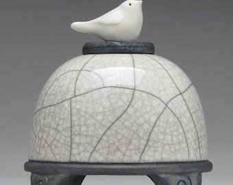 Ceramic  Bird Jar, white crackle, Art pottery,raku jar, Small Pet urn, handmade,home decor
