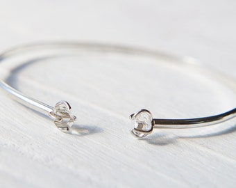 Herkimer Diamond Bracelet, Raw Quartz Crystal Bangle, Double Stone Cuff