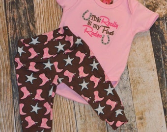 Infant Girl's This Really is My First Rodeo Saying Pants and Bodysuit Set - Can be Personalized - Cowgirl Coming Home Outfit - Country Baby