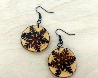 Salvaged Pine Earrings, Rustic Wood Winter Earrings, Wood Burned Snowflake Earrings
