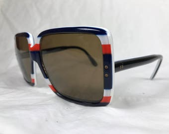 70s Era Red White and Blue Oversized Square Lens Sunglasses
