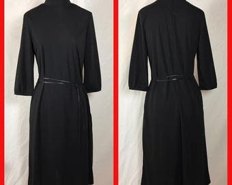 Calvin Klein Basic Black Dress with Clean Lines - Large