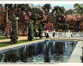 Antique New York Postcard - The Trask Fountain Reflecting Pool in Congress Park, Saratoga Springs (Unused)