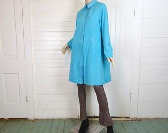 Sky Blue Raincoat- 1960s Swing Coat- Peter Pan Collar- 60s Mod