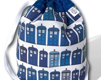 Police Boxes - One Skein Project Bag for Knitting, Crochet, or Cross Stitch