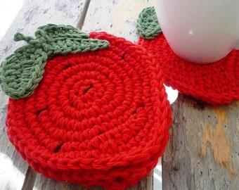 Rustic Coasters - Crochet Strawberry Coasters - Fruit Coasters - Crochet Coasters - Mothers Day Gift - Rustic Home Decor - Hostess Gift