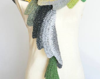 Spiral Stripe - Spring - Crochet Multi-color Spiral Scarf