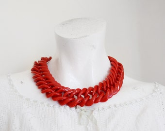 1980s Red Plastic Chainlink Necklace