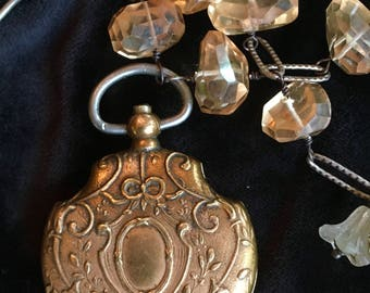 Antique French Silver Repousse Mirror Locket Necklace