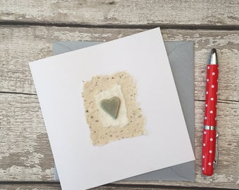 Handmade greetings card, ceramic gift card.  Blank for all occasions