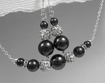 Black Jewelry Set, Black Pearl Bridesmaid Jewelry Set, Bridesmaid Jewelry, Bridesmaid Gift, Maid of Honor Jewelry, Charcoal Grey Jewelry