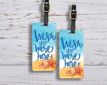 Luggage Tag Wish you were Here Metal Luggage Tags With Custom Info On Back, Single Tag or Set Available