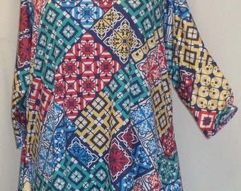 Plus Size Top, Coco and Juan, Lagenlook, Plus Size Tunic, Blue Kaleidoscope Print, Knit Drape Side Tunic Top ,One Size Bust  to 60 inches