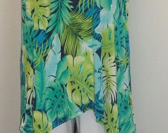 Plus Size Tank Top, Plus Size Tunic, Coco and Juan, Lagenlook, Turquoise  Print, Angled, Tank Top Size 2 Fits 3X,4X Bust  to 60 inches