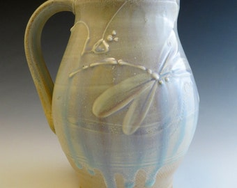 Pitcher Salt Fired Iridescent Dragonflies
