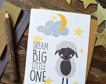 Baby Shower, Greeting Card, Dream Big Little One, Little Lamb, Moon and Stars, Welcome Little One, Baby gift, Gender neutral, Illustration