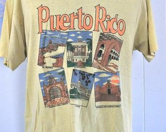 Distressed Trashed Vintage Tshirt Puerto Rico Faded Yellow 90s Super Soft n Thin XL