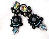 black sparkle statement earrings   abalone  hematite jewelry   black aqua earrings    haute couture jewelry   clip on chandelier earrings