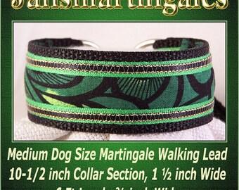 Jansmartingales, Black Collar and Leash Combination Walking Lead, Whippet, Medium Dog Size, wblk243