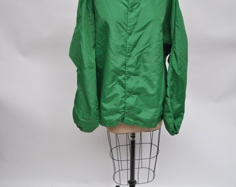 vintage jacket OVERSIZED windbreaker baseball green 1970s russell nylon XL extra large