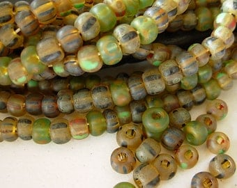 "Picasso Seed Beads, 2/0 Czech Seed Beads, Aged Picasso- Peridot Striped Mix (1/10"") #803"