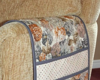Quilted Armchair Caddy, Remote Holder, Bedside Pockets, Floral Neutral Tan Brown with Grey