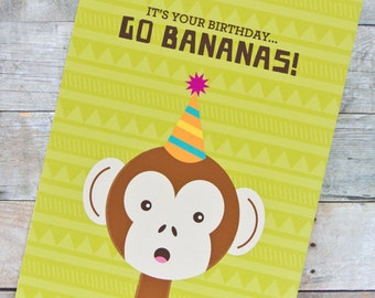 Go Bananas Monkey Birthday Card