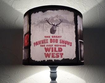 Winter decor drum lamp shade lampshade - lighting, lumberjack decor,  unique lampshade, holiday decor, mountains, Christmas decor, wild west