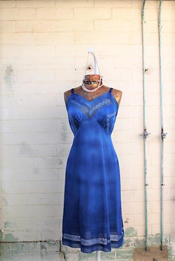 Large Upcycled Romantic Fairy Dress/ Fairy/Hippie Clothing/Mermaid Dress/Fairy Dress/Cobalt Blue Sundress/ Upcycled Dress/Romantic Sundress