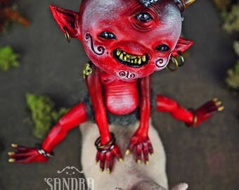 SALE!!! -Katsuo & Baku - art doll ooak pure sculpt oni ogre troll Japanese mythology folklore wild pig adventurers red creature monster doll