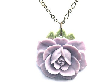 Lavender Rose and Vintage Bead and Brass Necklace. Bohemian. Hippie Chic.