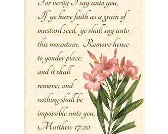 MUSTARD SEED FAITH Matthew 17:20 Christian Home Decor Vintage Verses Calligraphy Wall Art Parchment 5x7 Inspirational Wall Art Laurier Rose