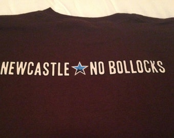 Todays Sale Adult Unisex Vintage New Castle Beer/ No Bollocks/ Graphic Tee/ T-Shirt/ Sz: XL - Brown