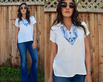 Vintage 70s EMBROIDERED COTTON Tunic S