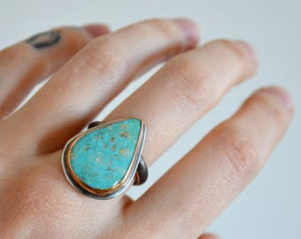 MAY SALE - Turquoise Silver Knuckle Cover Good Luck Folklore Ring