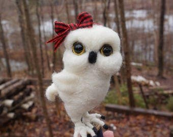 Needle Felted Miniature White Owl on Spool Sewing - Needlefelted Wool and Animal Soft Sculpture