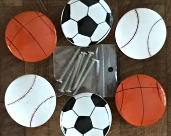 Sports Balls Painted Wood DRAWER PULLS Furniture Harware