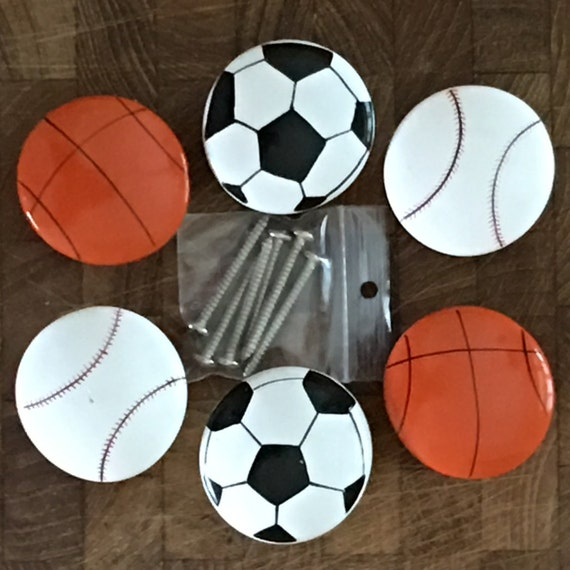Sports balls painted wood drawer pulls furniture harware