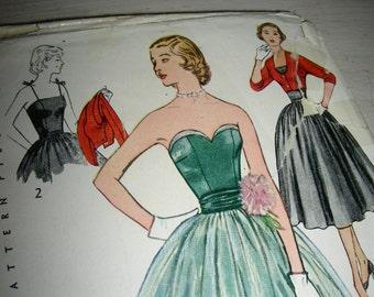 1950s Simplicity  Pattern 3694 - Junior Misses' Strapless Prom Dress, Net Overskirt  and Bolero * Size 12, bust 30