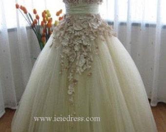 Modest Tulle Wedding Wedding with Satin Flowers   Autumn